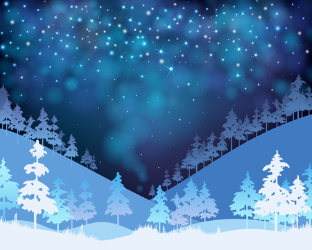 Christmas and New Year blue shiny poster with winter landscape. Vector background.