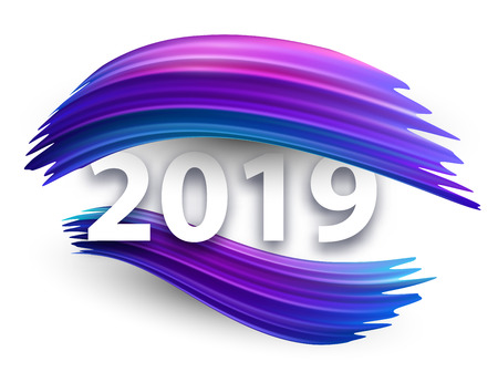 New Year 2019 creative sign with purple gradient brush strokes on white backdrop. Festive decoration. Vector background.