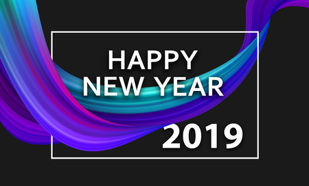Happy New Year 2019 poster with colorful brush stroke design on black. Vector background.