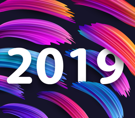 New Year 2019 card with abstract colorful brush strokes. Vector background. Vectores