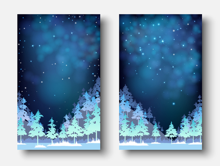 Set of winter, Christmas and New Year blue shiny card templates with magic fir forest. Vector background.
