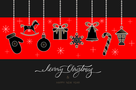 Black and red Merry Christmas and Happy New Year greeting card with festive decorations Vector background.