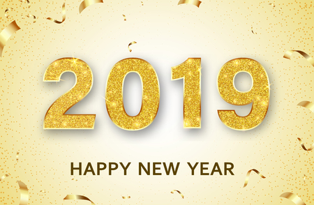 Happy New Year 2019 greeting card with gold shiny figures and confetti. Vector background.  일러스트