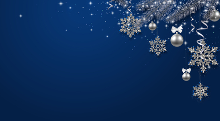 Blue shiny festive poster with fir branch, silver balls and snowflakes. Template for Christmas and New Year decoration. Vector background.  일러스트