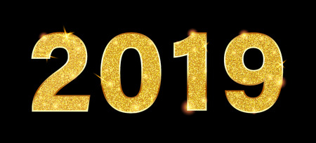 New Year 2019 sign or banner with golden figures on black backdrop. Vector background.