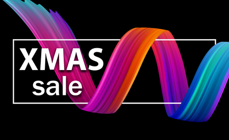 Christmas xmas sale seasonal promo poster with abstract colorful brush stroke spiral. Vector background. Vectores