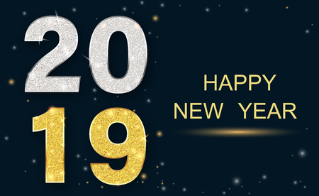 Happy New Year 2019 greeting card with shiny figures. Vector background.