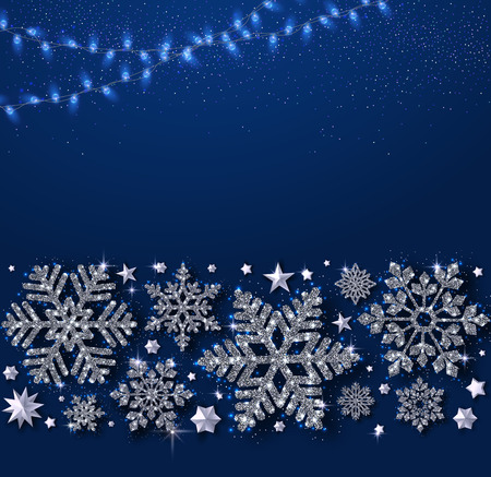 Blue Christmas, New Year and winter festive card with beautiful shiny silver snowflakes and garland of lights. Vector background.