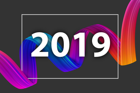 New Year 2019 poster with colorful gradient brush stroke design on grey. Vector background.