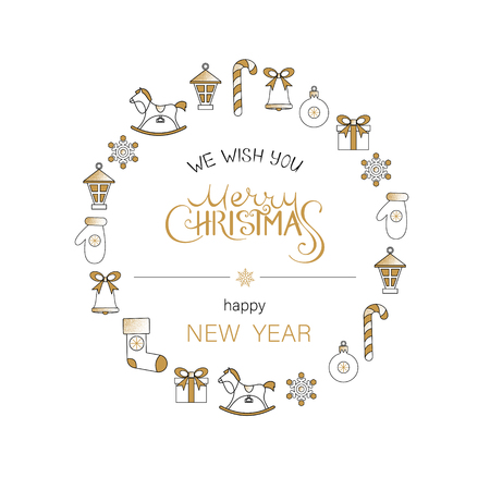 White Merry Christmas and Happy New Year greeting card with cute festive decorations. Vector background.