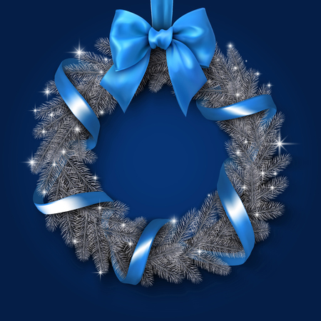 Christmas and New Year card template with shiny Christmas wreath with blue satin ribbon and bow. Vector background.