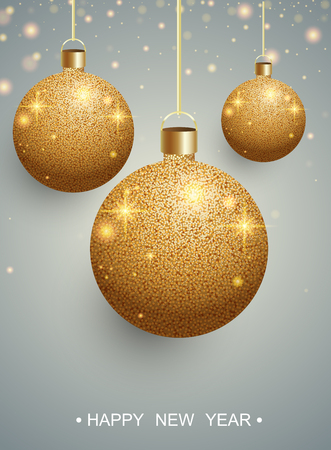 Happy New Year greeting card with gold shiny Christmas balls. Vector background. 일러스트