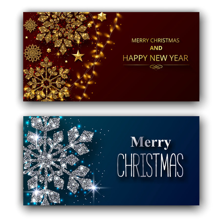 Set of Merry Christmas and Happy New Year shiny greeting cards with beautiful snowflakes and lights. Vector background.   일러스트
