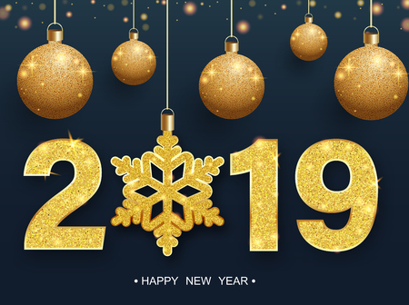 Happy New Year 2019 poster with golden Christmas balls and snowflake. Vector background.
