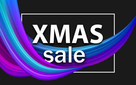 Christmas xmas sale seasonal promo poster with abstract colorful brush stroke design. Vector background. 일러스트
