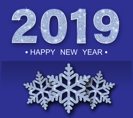 Purple Happy New Year 2019 greeting card with shiny snowflakes. Vector background.