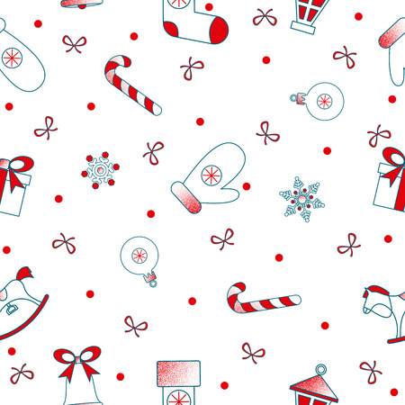 White and red abstract seamless pattern with Christmas bell, gift, candy and snow for Christmas and New Year festive decoration. Vector paper background.  일러스트