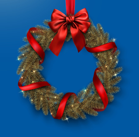 Blue Christmas and New Year card template with shiny Christmas wreath with red satin ribbon and bow. Vector background.