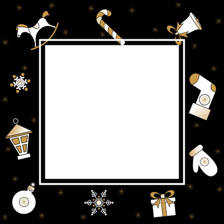 Black Christmas and New Year card with white square frame and Christmas decorations. Vector background.