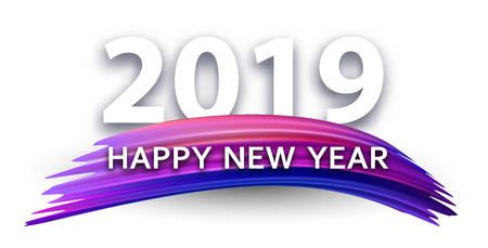 Happy New Year 2019 white poster with color brush stroke. Vector background.