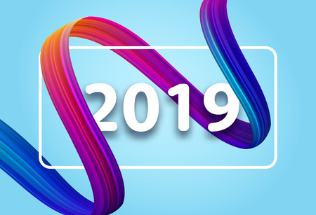 Happy New Year 2019 card with colorful brush stroke on blue. Vector background.