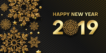 Happy New Year 2019 card or banner with golden shiny snowflakes. Vector background.