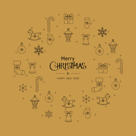 White Merry Christmas and Happy New Year greeting card with Christmas pattern. Vector background.