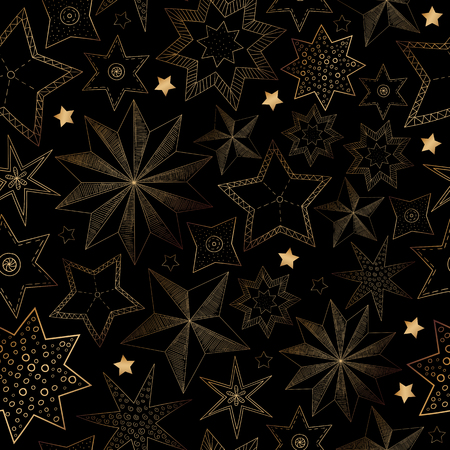 Black abstract seamless pattern with golden stars for Christmas and New Year decoration. Vector paper background. Illustration