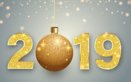 Happy New Year 2019 greeting card with golden shiny Christmas ball. Vector background.