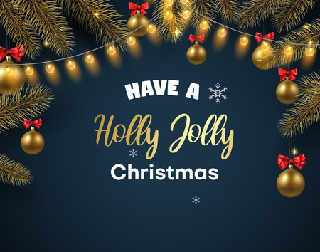 Holly Jolly Christmas card with fir branches, Christmas balls and decorative lanterns. Vector background.  일러스트