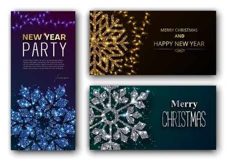 Merry Christmas and Happy New Year greeting cards and New Year party invitation card with shiny snowflake. Set of templates. Vector background.