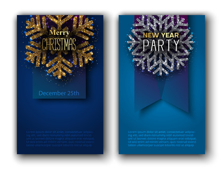 Set of Merry Christmas 25th December and New Year party blue cards with beautiful shiny snowflake and space for text. Vector background.