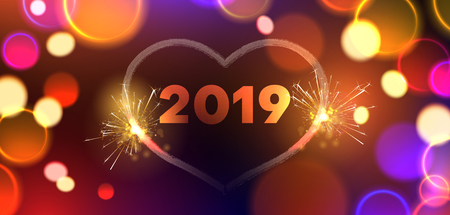 Happy New Year 2019 festive banner with heart and sparkling lights. Bokeh effect. Vector background. 일러스트