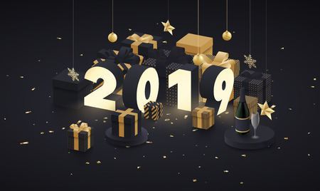 New Year 2019 card with golden 3d gifts, Christmas decorations, Champagne and confetti. Vector background.