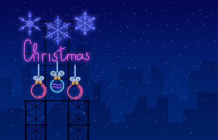 Blue Christmas neon luminous poster with Christmas balls and snowflakes on snowy backdrop. Vector background.
