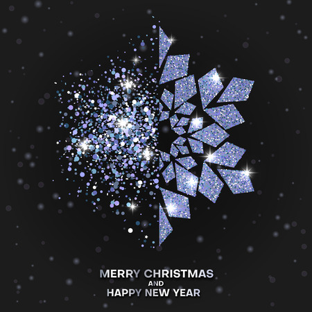 Black Merry Christmas and Happy New Year greeting card with beautiful shiny snowflake. Vector background. 일러스트