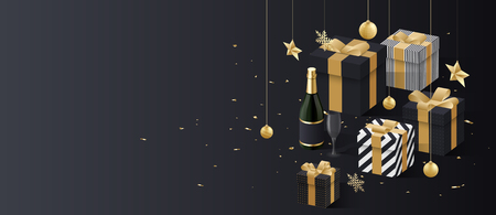 Christmas and New Year banner with golden 3d gifts, Champagne and confetti. Vector background.   일러스트