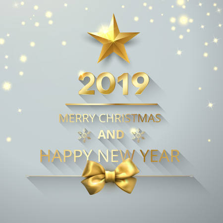 Shiny Merry Christmas and Happy New Year 2019 card with gold satin bow. Vector background.