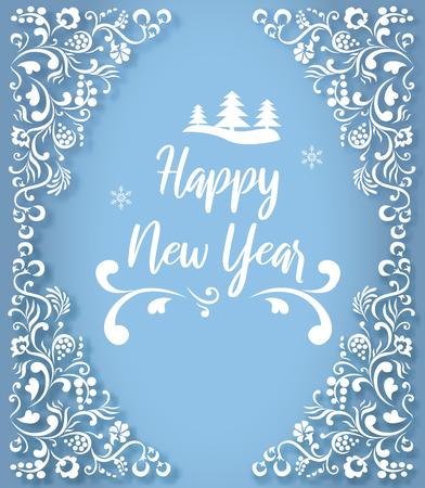 Blue Happy New Year greeting card with beautiful white ornament. Vector background.