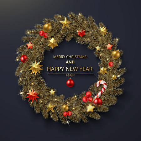 Merry Christmas and Happy New Year greeting card with shiny Christmas wreath. Vector background.