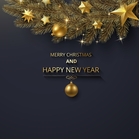 Merry Christmas and Happy New Year greeting card with fir branch with gold Christmas decorations. Vector background.