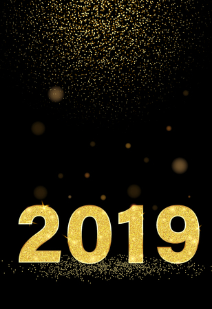 Black New Year 2019 shiny poster with golden figures. Vector background.