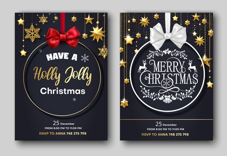 Merry Christmas festive poster or invitation card with Christmas ball and stars. Set of templates with space for text. Vector background.