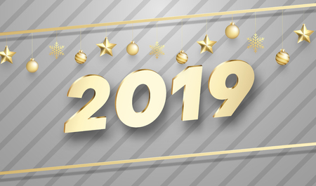 Grey Happy New Year 2019 poster with golden Christmas balls and shiny figures. Vector background.