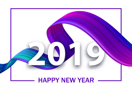Happy New Year 2019 greeting card with purple gradient brush stroke spiral. Vector background.