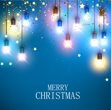 Blue Merry Christmas greeting card with colorful shiny decorative lanterns and golden starry confetti. Vector background.