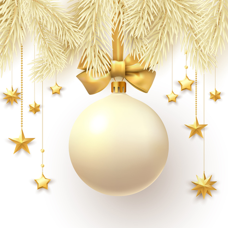 Christmas and New Year card with fir branches and yellow 3d Christmas ball with satin bow and gold, stars. Vector background.