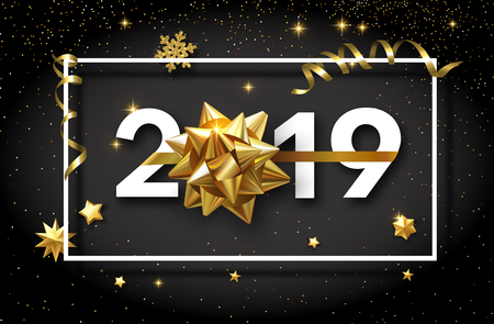 Happy New Year 2019 shiny poster with golden bow and confetti. Vector background.
