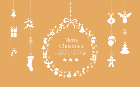 Orange Merry Christmas and Happy New Year greeting card with holiday decorations. Vector background. Illusztráció