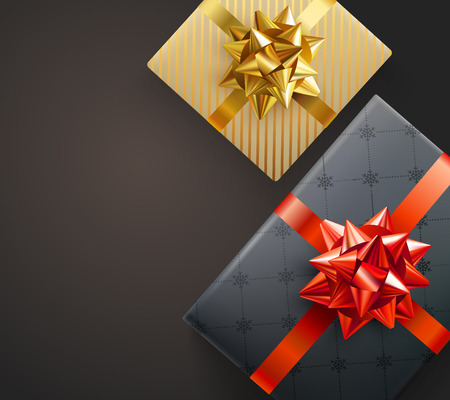 Christmas, New Year or birthday festive card with top view gift boxes with satin bow. Vector background.